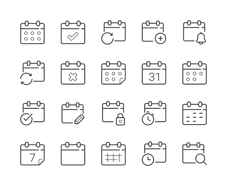 Simple Set Of Date And Calendar Line Icon Editable Stroke — стоковая векторная графика и другие изображения на тему Без людей