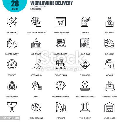 Simple Set of Delivery Related Vector Line Icons. Contains such Icons as Air Freight, Cargo Train, Worldwide Shipping, Destination, Warehouse and more. Editable Stroke. 48x48 Pixel Perfect.