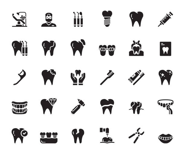 Simple Set of Dental Related Vector Icons. Symbol Collection Simple Set of Dental Related Vector Icons. Symbol Collection human jaw bone stock illustrations