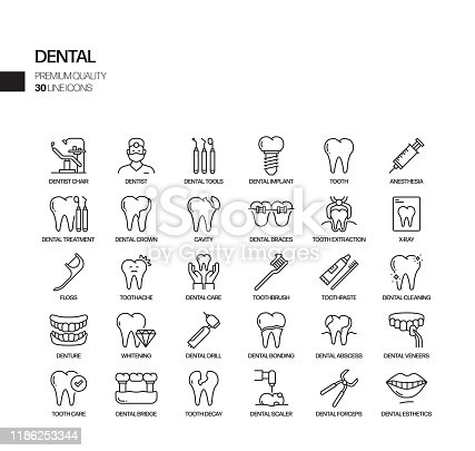 Simple Set of Dental Related Vector Line Icons. Outline Symbol Collection