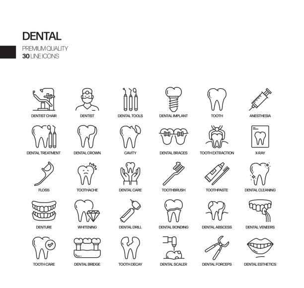 Simple Set of Dental Related Vector Line Icons. Outline Symbol Collection Simple Set of Dental Related Vector Line Icons. Outline Symbol Collection dentist stock illustrations
