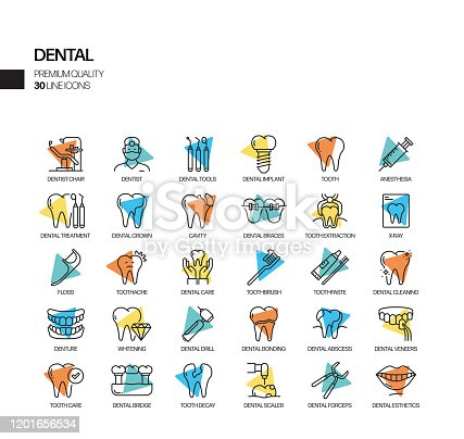 Simple Set of Dental Related Vector Spotlight Line Icons. Outline Symbol Collection