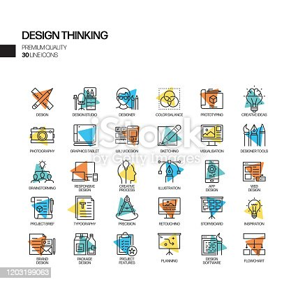 Simple Set of Design Thinking Related Spotlight Vector Line Icons. Outline Symbol Collection