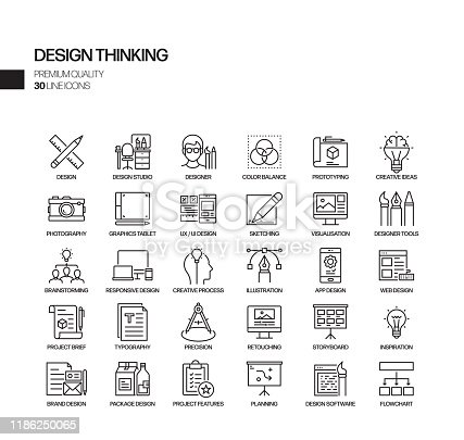 Simple Set of Design Thinking Related Vector Line Icons. Outline Symbol Collection