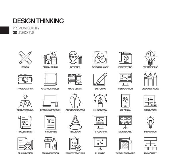 simple set of design thinking related vector line icons. outline symbol collection - creative stock illustrations
