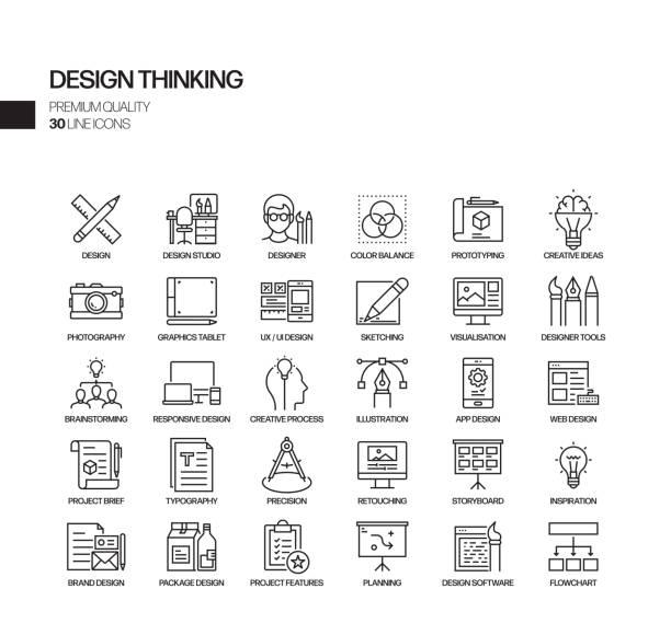 stockillustraties, clipart, cartoons en iconen met eenvoudige set van design thinking gerelateerde vector lijn iconen. outline symbol-collectie - creativiteit