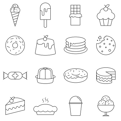 Simple Set of Dessert Related Vector Line Icons. Contains such Icons as Macarons, Bagel and more. Flat vector illustration.