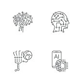 Simple set of digital technology icons. AI, IoT, Industry 4.0, hi-tech. Editable Stroke. EPS 10