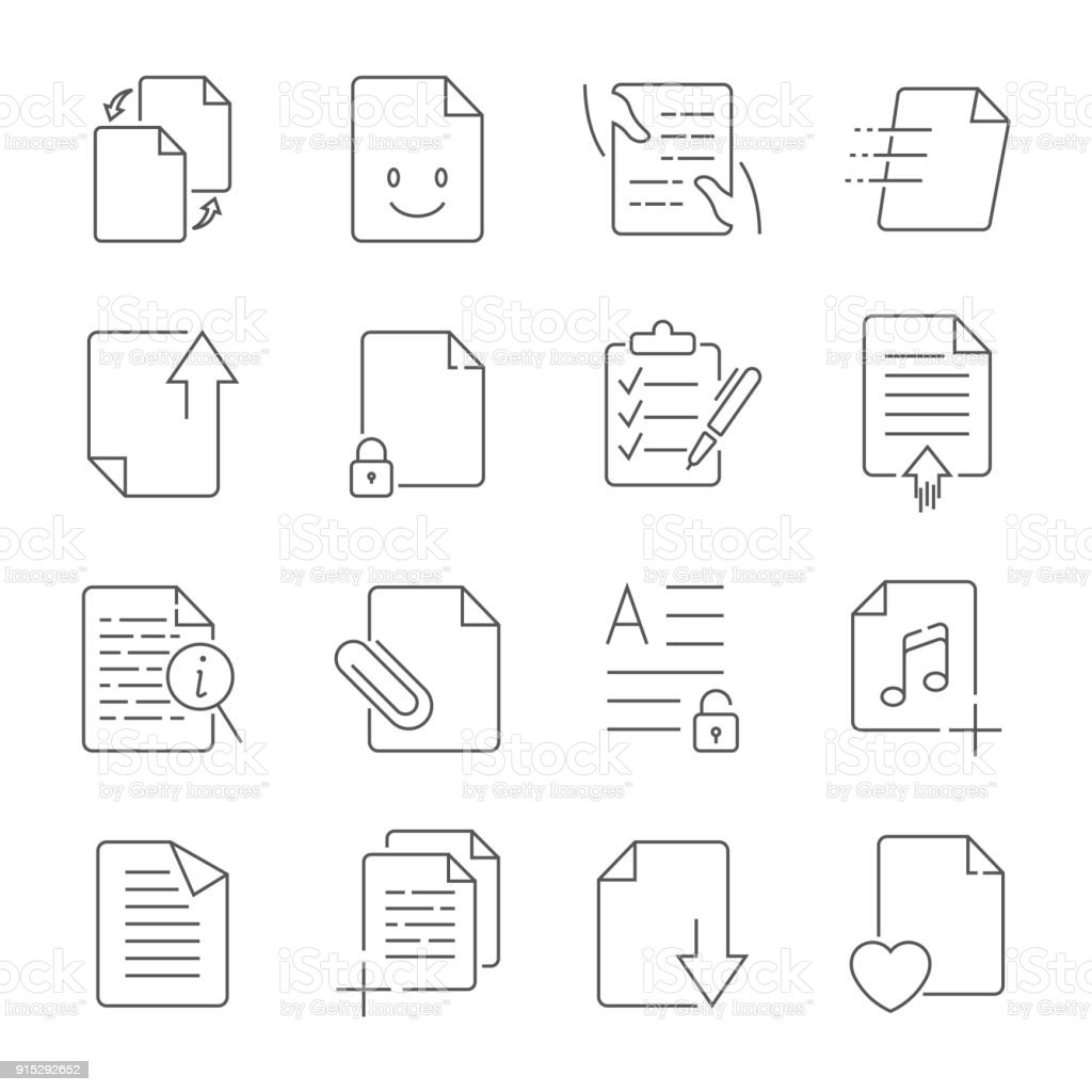 Simple Set of Document Flow Management Vector Line Icons vector art illustration