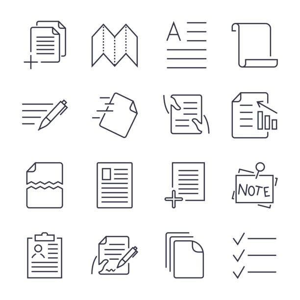 Simple Set of Document Icons. Contains such Icons as Batch Processing, Legal Documents, Clipboard, Download, Document Flow and more. Editable Stroke vector art illustration