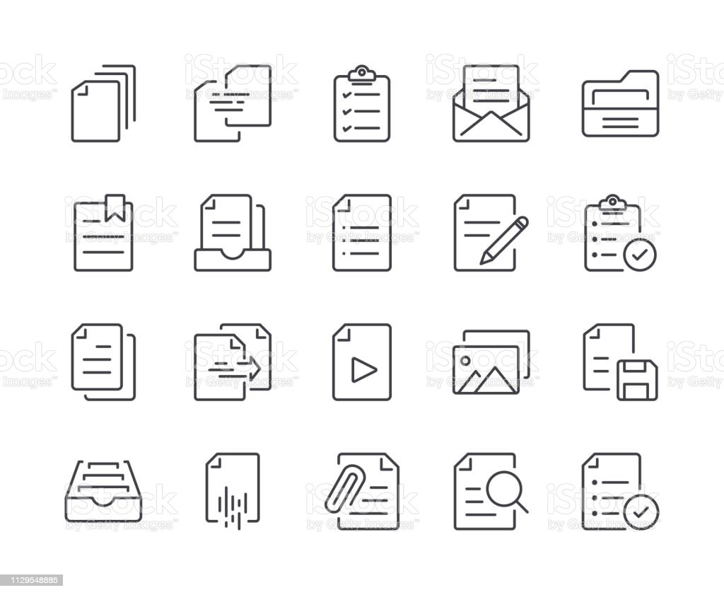 Simple Set of Document Line Icon. Editable Stroke - Grafika wektorowa royalty-free (Akta)