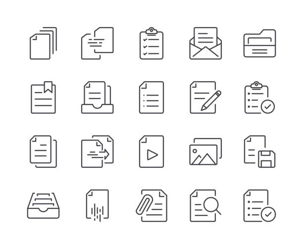simple set of document line icon. editable stroke - icons stock illustrations