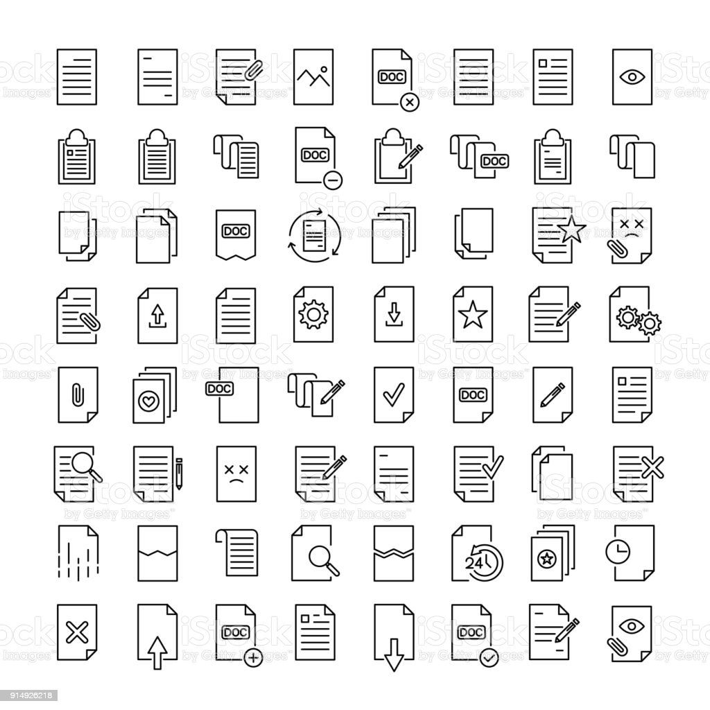 Simple set of document related outline icons. vector art illustration