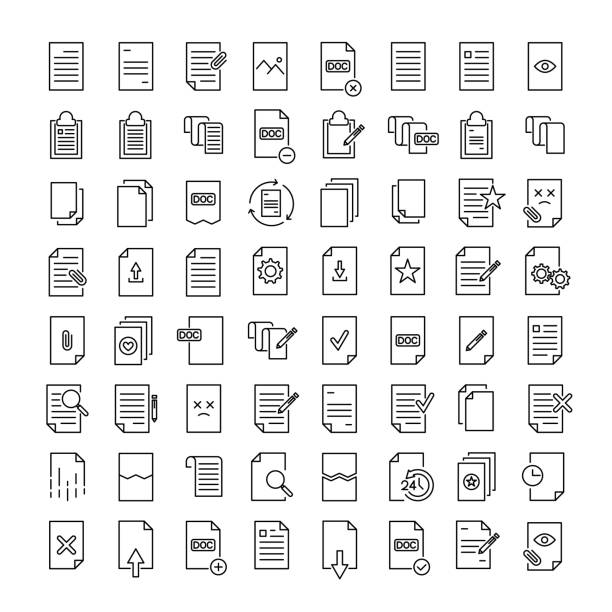 simple set of document related outline icons. - naśladownictwo stock illustrations