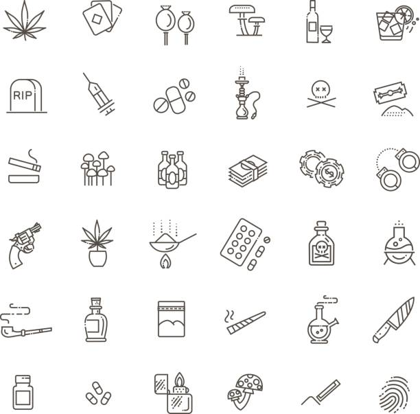 Simple Set of Drugs Related Vector Line Icons Simple Set of Crime Related Vector Line Icons addict stock illustrations