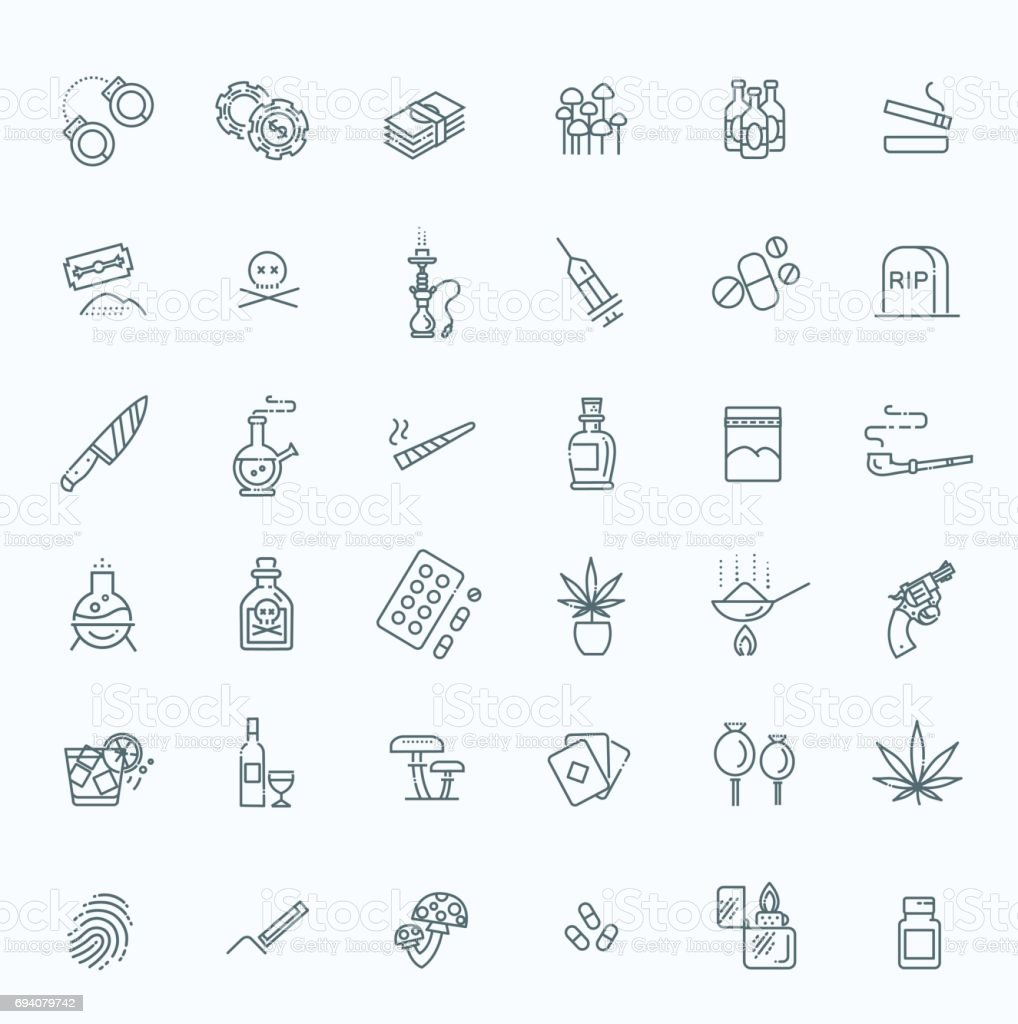 Simple Set of Drugs Related Vector Line Icons vector art illustration