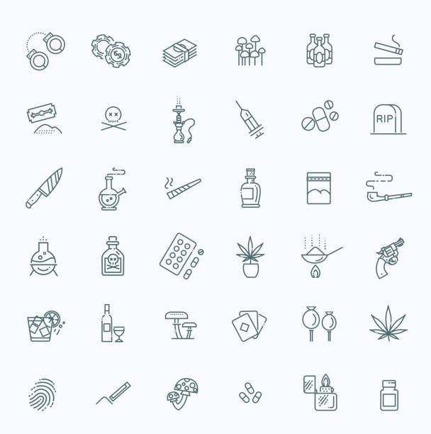 Simple Set of Drugs Related Vector Line Icons Simple Set of Crime Related Vector Line Icons tranquilizing stock illustrations