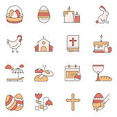 Simple Set of Easter Related Vector Line Icons. Outline Symbol Collection