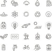 Simple Set of Eco Related Vector Line Icons