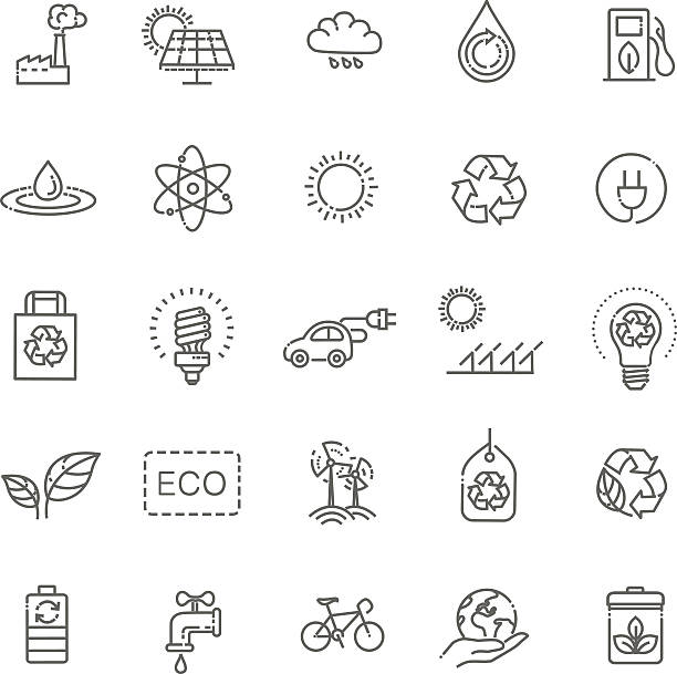 simple set of eco related vector line icons - solar panels stock illustrations