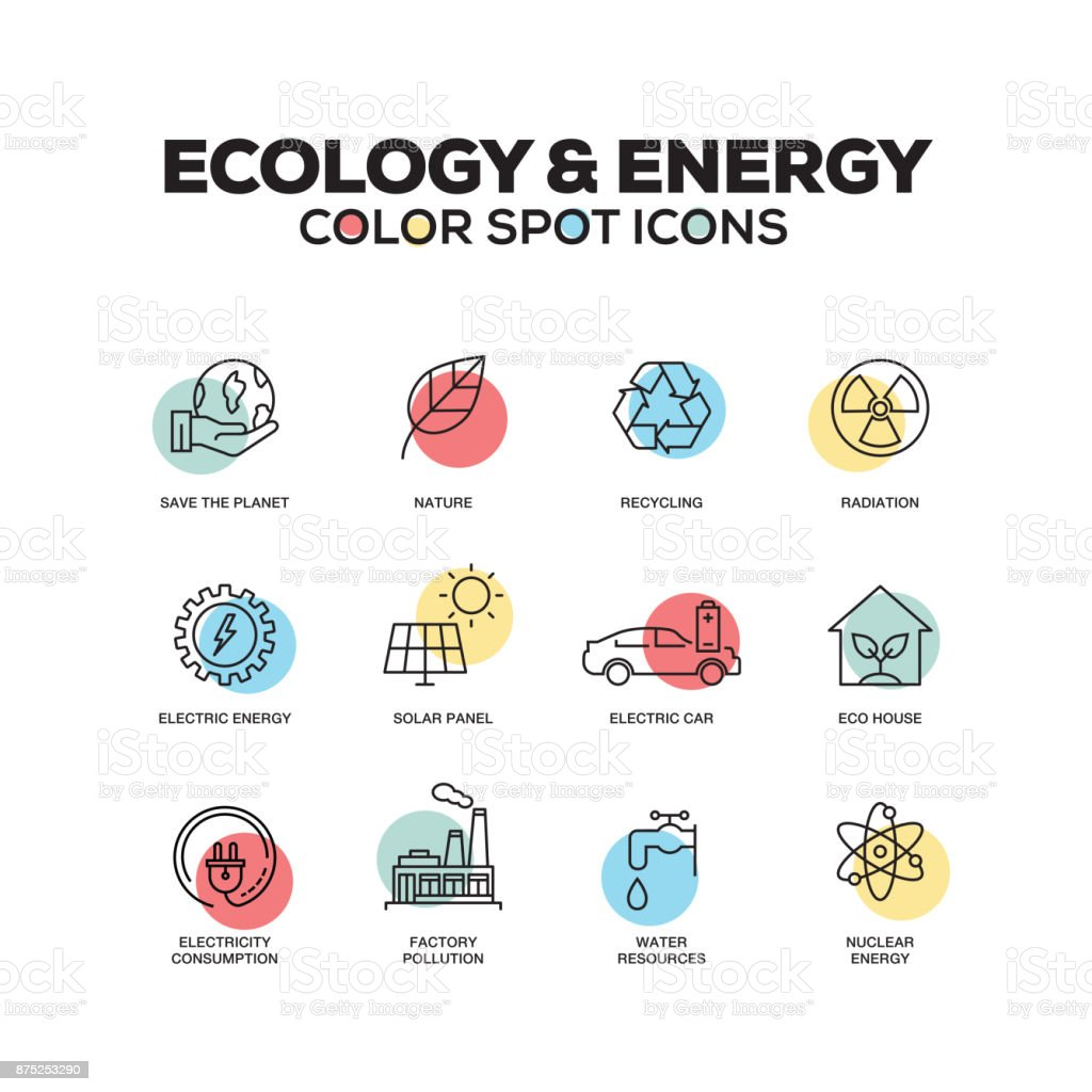 Simple Set of Ecology and Energy Color Vector Line Icons vector art illustration