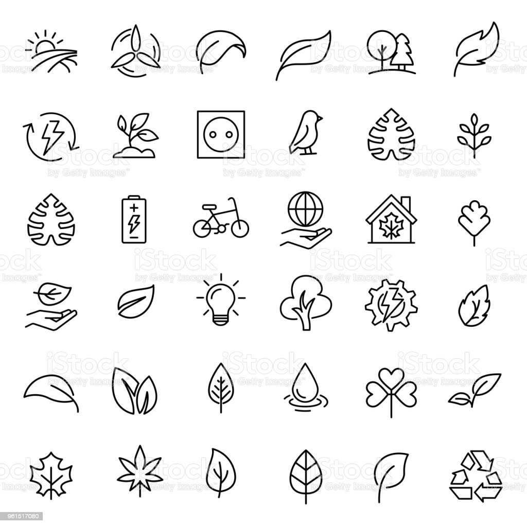 Simple set of ecology related outline icons. vector art illustration