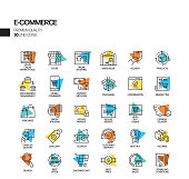 Simple Set of E-Commerce Related Spotlight Vector Line Icons. Outline Symbol Collection