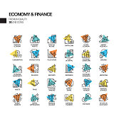 Simple Set of Economy and Finance Related Spotlight Vector Line Icons. Outline Symbol Collection