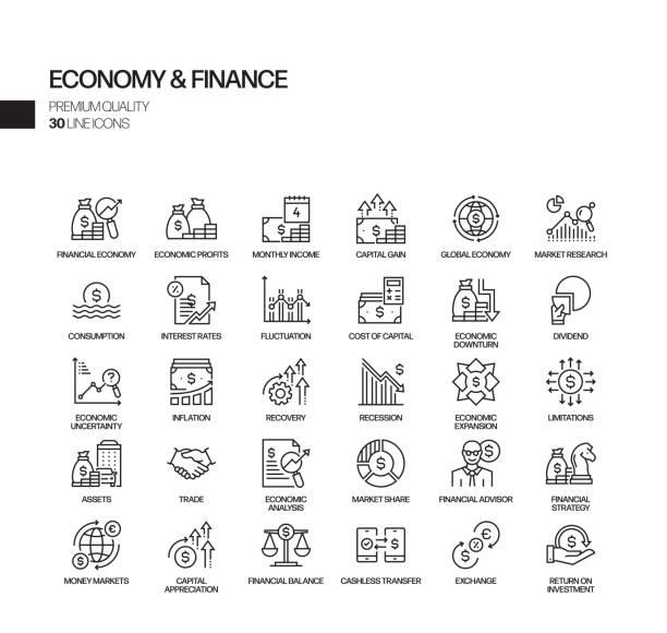 stockillustraties, clipart, cartoons en iconen met eenvoudige set van economie en financiën gerelateerde vector lijn iconen. outline symbol-collectie - vermindering
