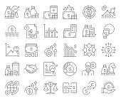 Simple Set of Economy and Finance Related Vector Line Icons. Outline Symbol Collection. Editable Stroke