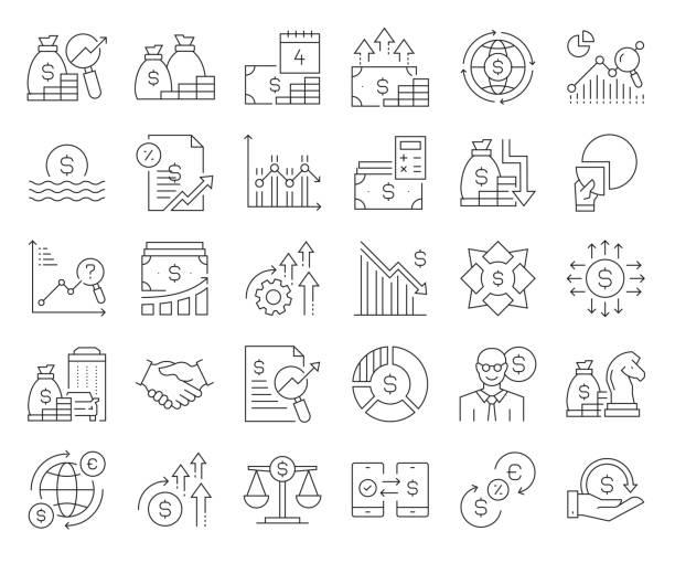 경제 및 금융 관련 벡터 라인 아이콘의 간단한 집합입니다. 윤곽선 기호 컬렉션입니다. 편집 가능한 스트로크 - 가격 stock illustrations