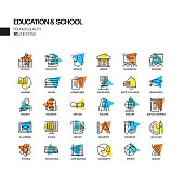 Simple Set of Education and School Related Spotlight Vector Line Icons. Outline Symbol Collection.