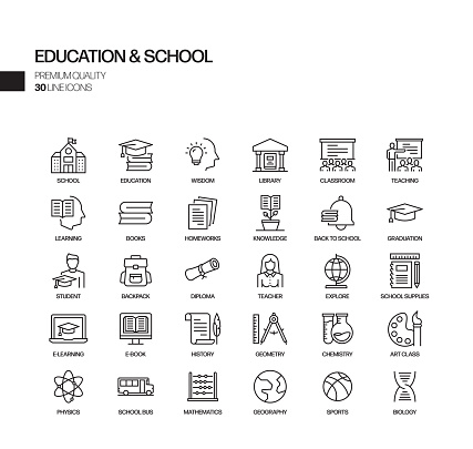 Simple Set of Education and School Related Vector Line Icons. Outline Symbol Collection.
