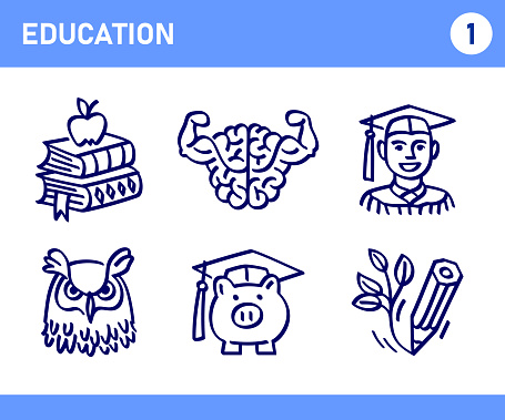 Simple Set of Education Related Doodle Vector Line Icons