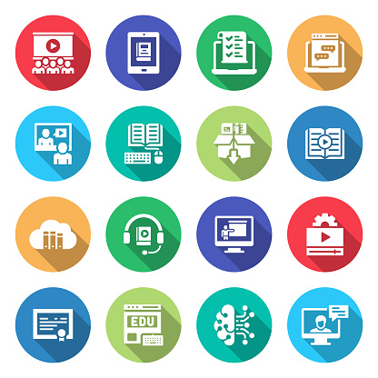 Simple Set of E-Learning Related Vector Flat Icons. Symbol Collection