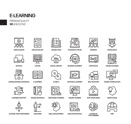 Simple Set of E-Learning Related Vector Line Icons. Outline Symbol Collection