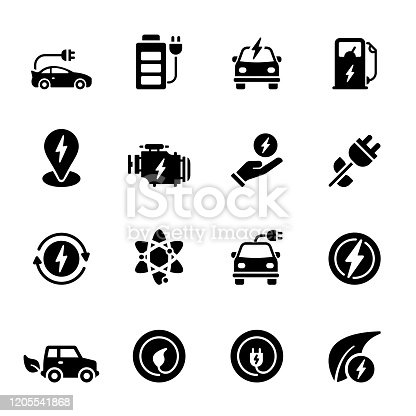 Simple Set of Electric Car Related Vector Icons. Symbol Collection