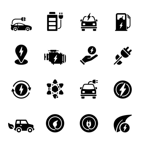 Simple Set of Electric Car Related Vector Icons. Symbol Collection Simple Set of Electric Car Related Vector Icons. Symbol Collection hybrid vehicle stock illustrations