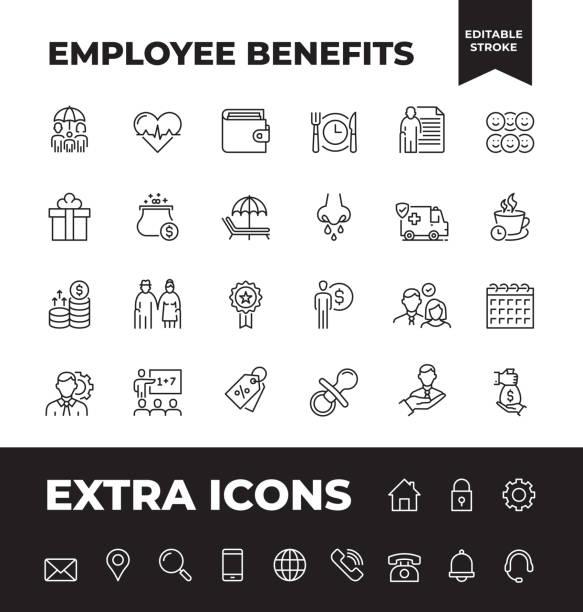 ilustrações de stock, clip art, desenhos animados e ícones de simple set of employee benefits vector line icons - benefits