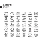 Simple Set of Engineering Related Vector Line Icons. Outline Symbol Collection