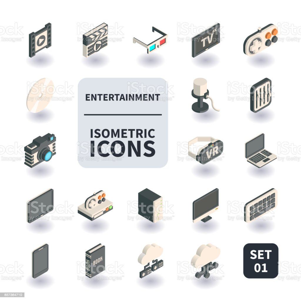 Simple Set of Entertainment Icons. vector art illustration