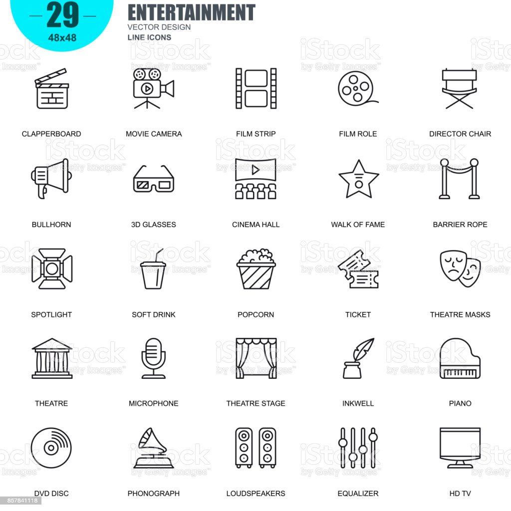 Simple set of entertainment related vector line icons vector art illustration