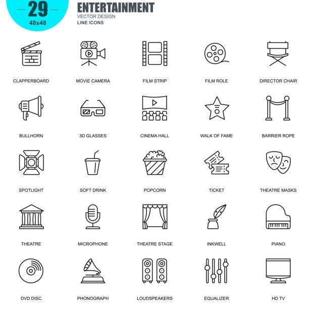 Simple set of entertainment related vector line icons Simple Set of Entertainment Related Vector Line Icons. Contains such Icons as Clapperboard, Film Strip, Barrier Rope, Theatre, 3d Glasses and more. Editable Stroke. 48x48 Pixel Perfect. popcorn stock illustrations
