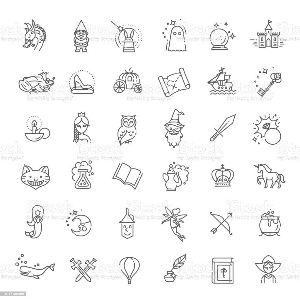 Einfachen Satz von Fantasy Verwandte Vektor Liniensymbol – Vektorgrafik