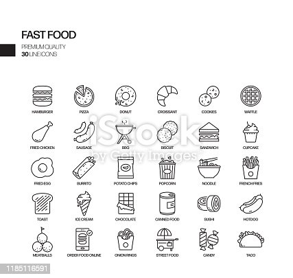 Simple Set of Fast Food Related Vector Line Icons. Outline Symbol Collection.