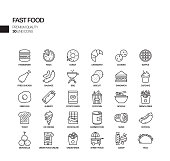 Simple Set of Fast Food Related Vector Line Icons. \nContains such Icons as Pizza, Tacos, Chips and more.\nEditable Stroke. 48x48 Pixel Perfect.