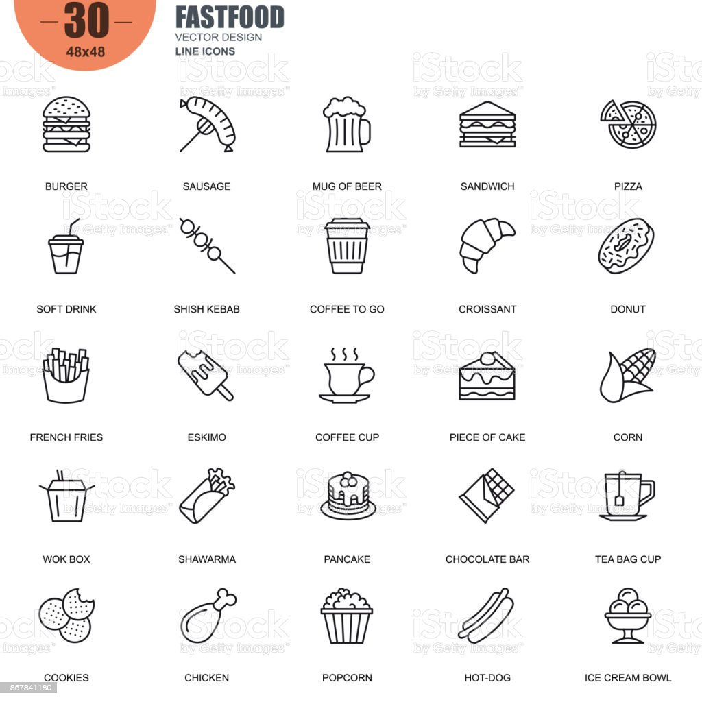 Simple set of fastfood related vector line icons vector art illustration