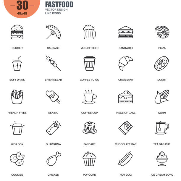 Simple set of fastfood related vector line icons Simple Set of Fastfood Related Vector Line Icons. Contains such Icons as Burger, Sausage, Sandwich, Pizza, French Fries, Hot-dog and more. Editable Stroke. 48x48 Pixel Perfect. french fries stock illustrations