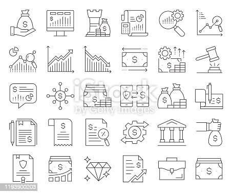 Simple Set of Finance Related Vector Line Icons. Outline Symbol Collection. Editable Stroke