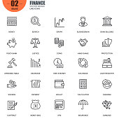 Simple set of finance related vector line icons